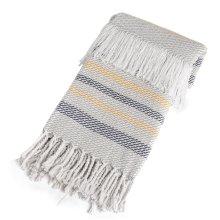 Grey, Navy & Mustard Stripe Throw with Braided Fringe