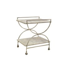 Bengal Manor Antique Nickel and White Marble Castered Bar Cart