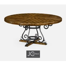 "66"" Country Walnut and Wrought Iron Dining Table"