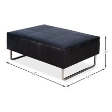 Black Embossed Leather Ottoman/Bench