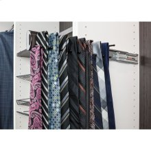 """Polished Chrome 14"""" Tie Rack. 12 hook design perfect for organizing multiple ties or scarves. Mounted on a push-to-open slide and easily installs with our Quick-Brac 32mm installation bracket. Can be mounted left or right handed."""