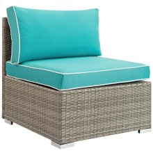 Repose Outdoor Patio Armless Chair in Light Gray Turquoise