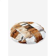 Safari Round Pillow in Patchwork Design..
