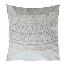 """Melody Embroidered Square Pillow (22"""" X 22"""") - Oatmeal/ Taupe"""