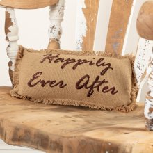 Burlap Natural Pillow Happily Ever After 7x13