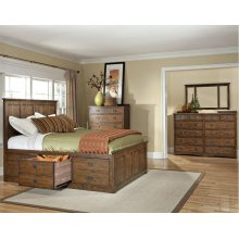 King Panel Bed, (1) 3 Drawer Storage, (1) Univ Rail