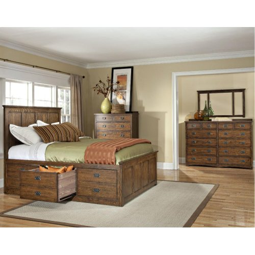 Queen Panel Bed, (1) 3 Drawer Rail, (1) 6 Drawer Rail