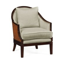 Rouded Rattan Back Dining Chair, Upholstered in MAZO