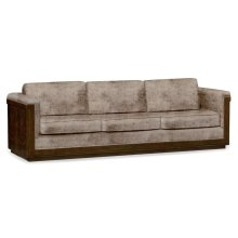 110'' Antique Mahogany Brown High Lustre Sofa, Upholstered in Truffle Velvet