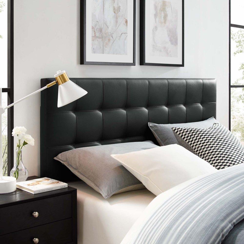 Lily Full Upholstered Vinyl Headboard in Black