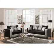 Riverstone Implosion Black Velvet Living Room Set with Black & Shimmer Steel Frame Product Image