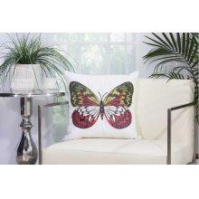 """Outdoor Pillow L2792 White 18"""" X 18"""" Throw Pillow"""