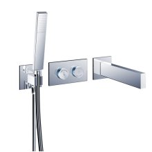 "opus2 electronica in-wall thermostatic tubfiller with handshower & smooth 42"" Neoperl hose"