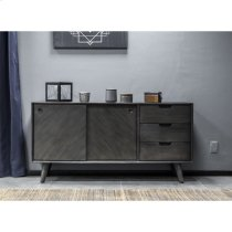 Leven Mid-Century Tundra Grey Acacia Buffet Cabinet Product Image