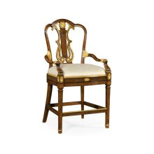 Neo-Classical Gilded Lyre Back Bar Armchair, Upholstered in MAZO