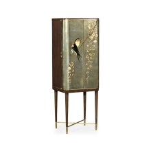 Handpainted Birds on Rich Walnut & Light Gold Foil Drinks Cabinet