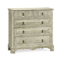 Linenfold Greyed Oak Chest of Drawers