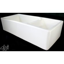 """Biscuit 39"""" Double Bowl Thick Fireclay Farmhouse Kitchen Sink with Smooth Apron"""