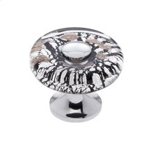 Polished Chrome 35 mm Clear Flat Round Knob
