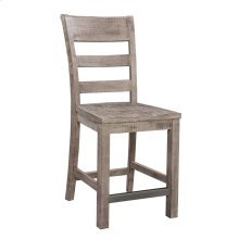 24'' Barstool-slat Back W/wood Seat-reclaimed Pine Finish