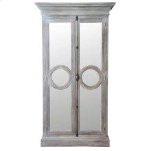 DUNHAM ARMOIRE  Stonwall Finish on Hardwood with Beveled Mirror Doors