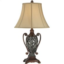 Table Lamp - Two Tone/tan Fabric Shade, E27 Type A 100w