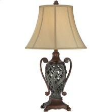 Table Lamp - Two Tone/tan Fabric Shade, E27 Type A 100w