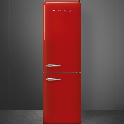 "Approx 24"" 50'S Style refrigerator with automatic freezer, Red, Right hand hinge"