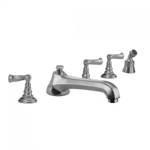 Antique Brass - Westfield Roman Tub Set with Low Spout and Ribbon Lever Handles and Angled Handshower Mount Product Image