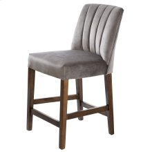 CAPP COUNTER STOOL  Dove Gray Velvet on Hardwood Frame
