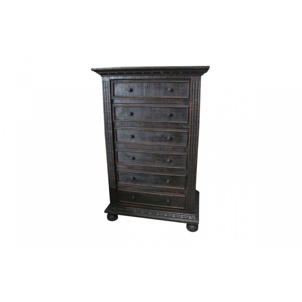 Factory 4 Rustic 5 Drawer Chest, Antique Black