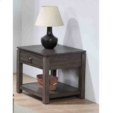 DLU-EL1602  End Table with Drawer and Shelf  Gray