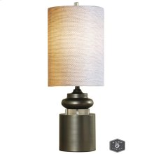 MERIDIAN TABLE LAMP  Tin Finish on Metal Body with Crystal Disc  Hardback Shade  100 Watt  3-Way