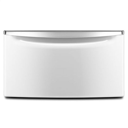 """15.5"""" Laundry Pedestal with Chrome Handle and Storage Drawer - white"""
