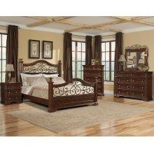San Marcos King Bedroom Set: King Bed, Nightstand, Dresser & Mirror
