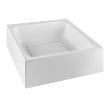 Wall-mounted or counter top washbasin in Cristalplant® (matt white) without overflow waste