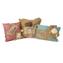 Shaw Burlap Pillows - Set of 3