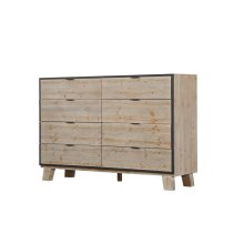 8 Drawer Dresser-sandstone Finish W/graphite Metal Trim