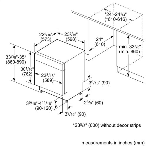 Ascenta Recessed Hndl, 6/2 Cycles, 50 dBA, Adj Rack - SS