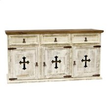 "White : 63"" x 21"" x 34"" Turquoise 3 Door/Drawer Buffet W/Cross"