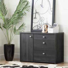 Storage Unit with File Drawer - Gray Oak