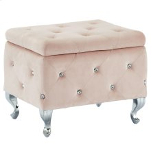 Monique Square Storage Ottoman in Blush