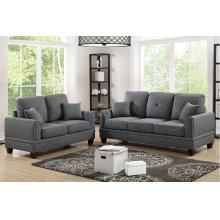 Grey Sofa and Love Seat with Silver Nail Head Trim