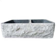 Brandi Double Bowl Granite Farmer Sink - Polished Black / 36""