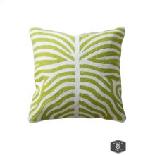 ELLIOTT PILLOW- GREEN  Hand Embroidered Wool on Cotton  Down Feather Insert
