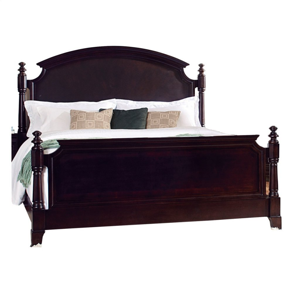 California King Panel Bed, Dark Cherry