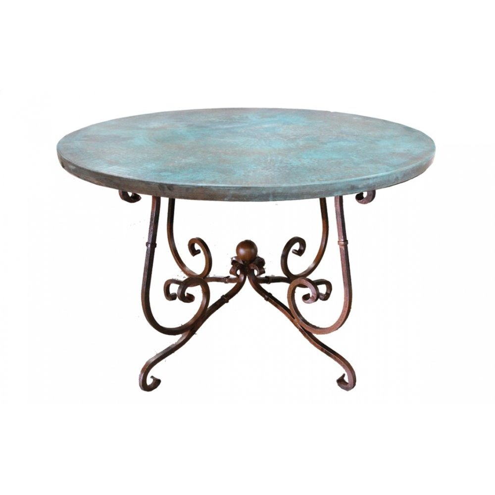 "Factory 4 48"" Turquoise Patina Copper Top & Wrought Iron Base"
