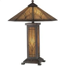 Table Lamp - Dark Bronze/glass Shade, Cfl 13wx2 & E12 C 7w
