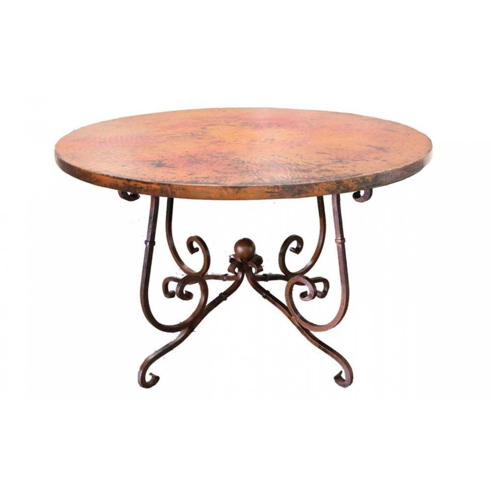 "Factory 4 48"" Natural Copper Top & Wrought Iron Base"