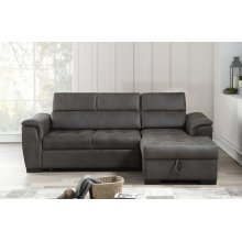 8015 Air Leather Pull Out Sectional Sofa - Right